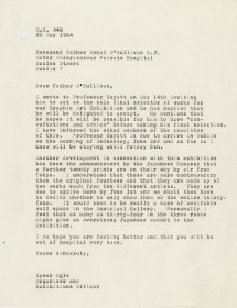Letter from Speer Ogle, Organiser and Exhibitions Officer to Father Donal O'Sullivan S.J. Director of the Arts Council.